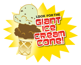 When Visiting Sweet Dreams Homemade Ice Cream, look for the big cone!